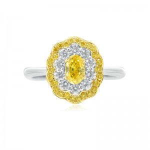 0,37ct~OVAL~SI1^F.Vivid YeLL~G^G^None Fancy Vivid Yellow Oval Diamond Ring