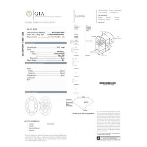 0,37ct~OVAL~SI1^F.Vivid YeLL~G^G^None Fancy Vivid Yellow Oval Diamond Ring